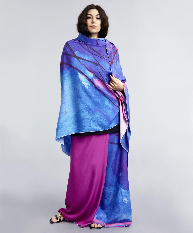 zummy pashmina fucsia indossato