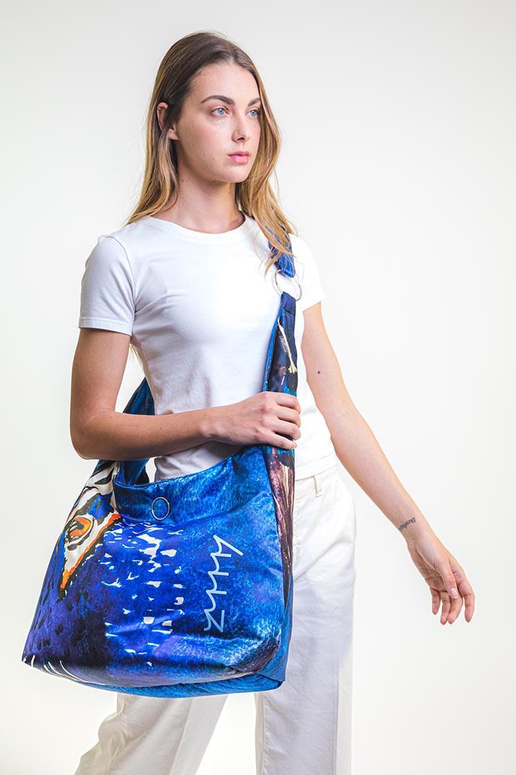 zummy borsa sostenibile donna blu tracolla