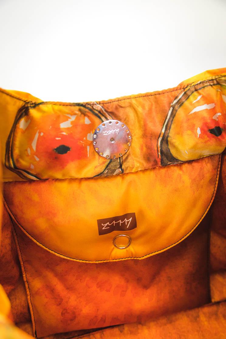 zummy borsa sostenibile donna giallo tasca interna