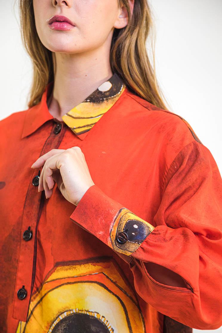 zummy camicia rossa dettaglio manica