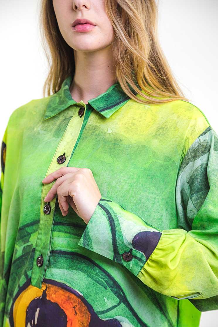 zummy camicia verde dettaglio manica