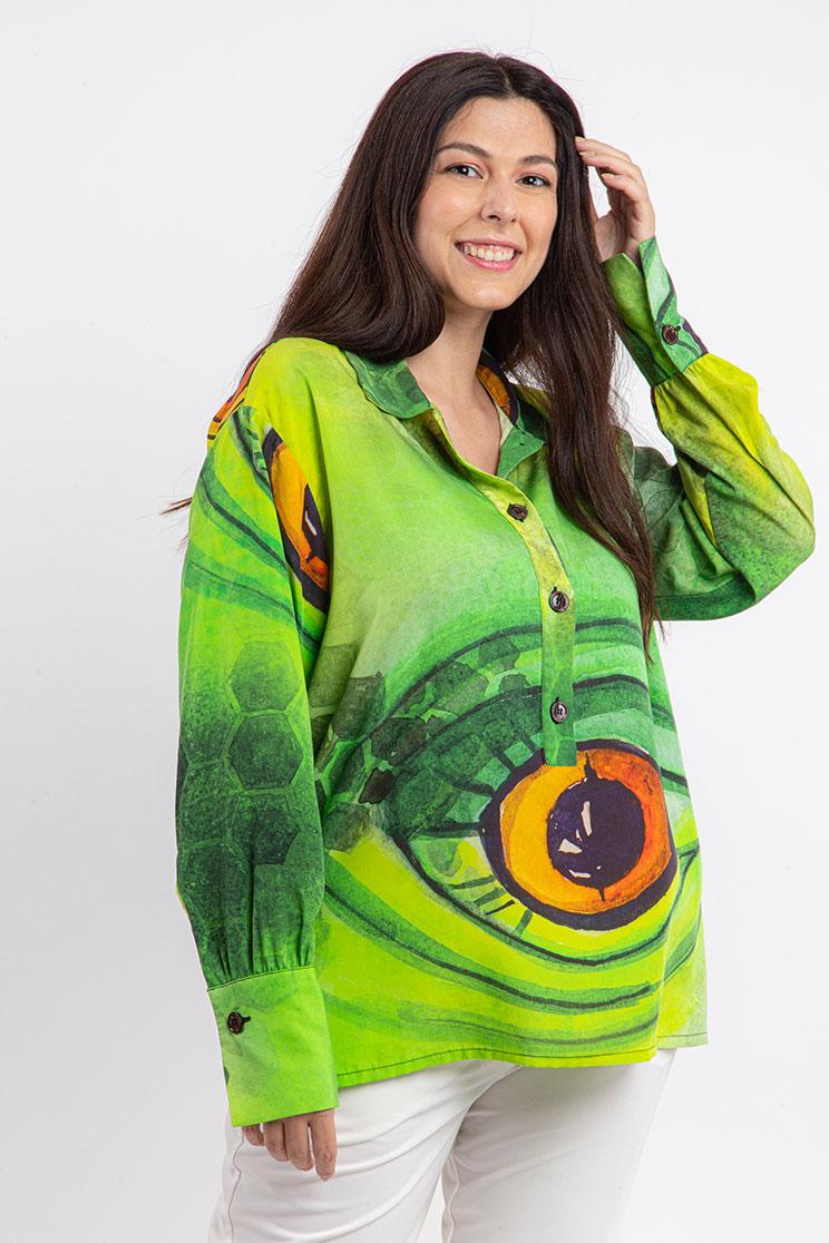 zummy camicia verde frontale curvy