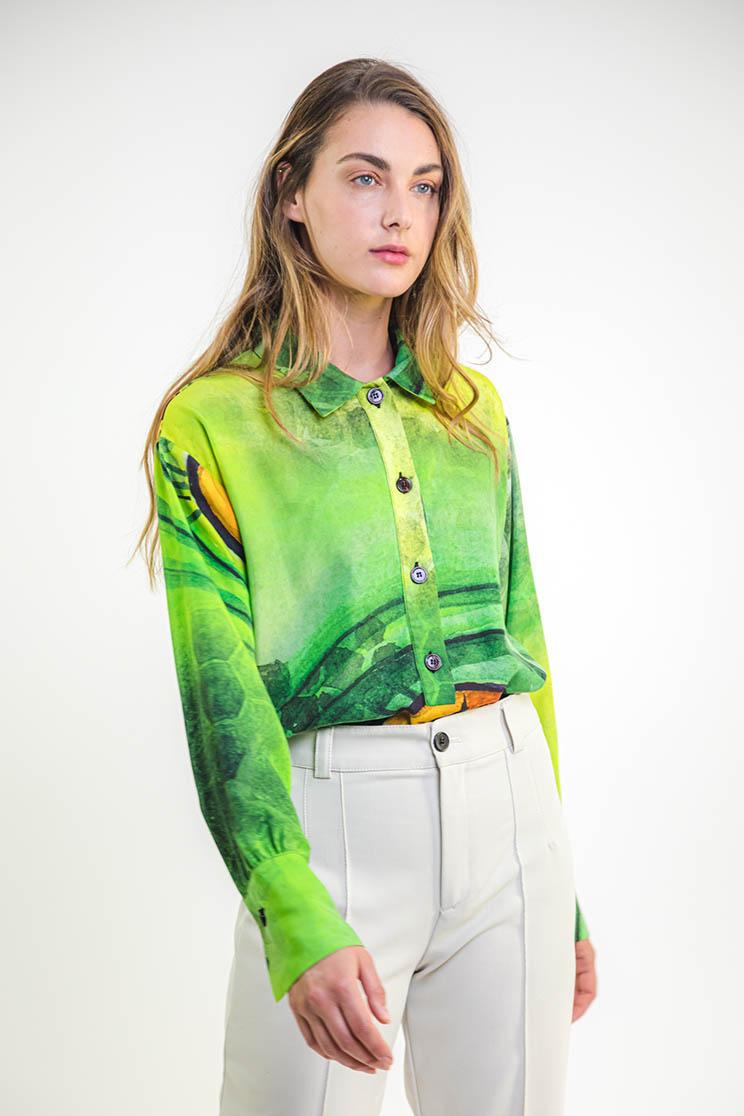 zummy camicia verde frontale