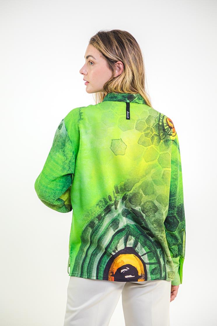 zummy camicia verde retro