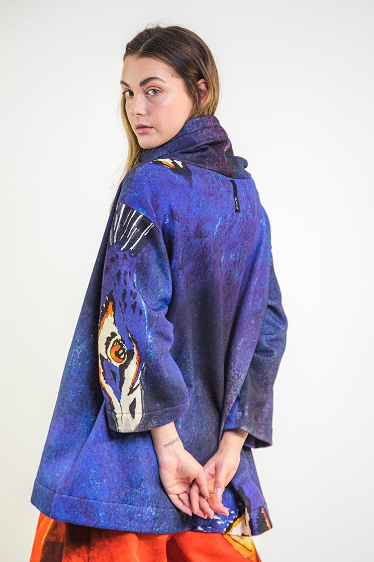 zummy felpa blu retro da moda sostenibile