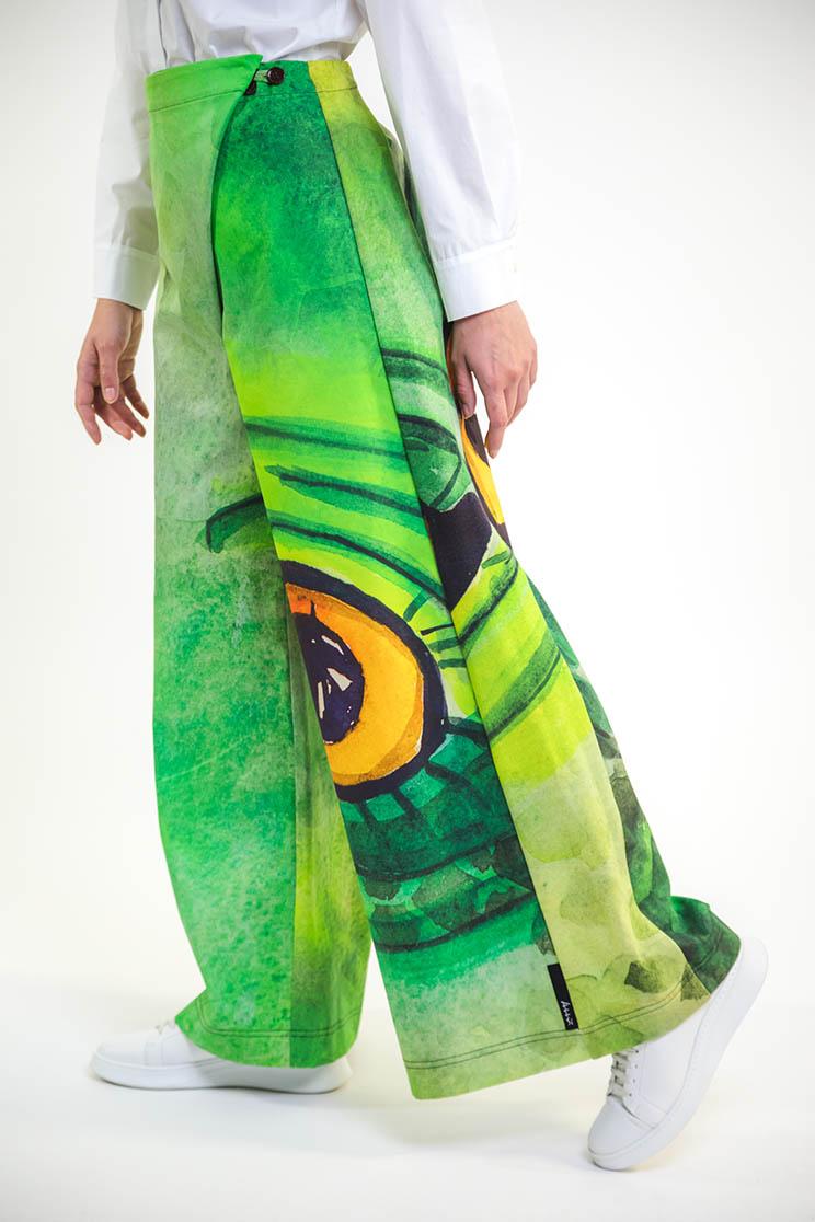 zummy pantalone elegante verde laterale