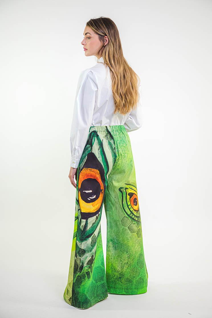zummy pantalone elegante verde retro