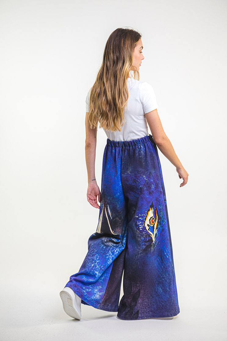 zummy pantalone felpa blu retro