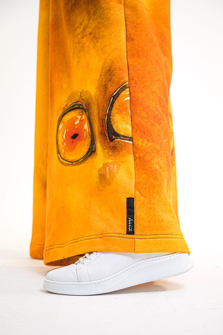 zummy pantalone felpa giallo etichetta