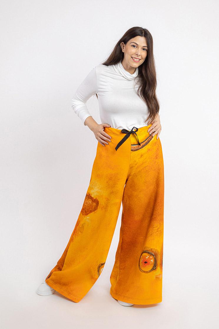 zummy pantalone felpa giallo fronte curvy