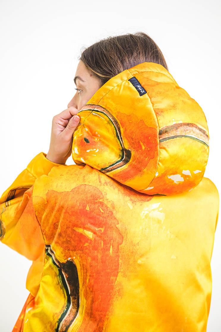 zummy piumino donna giallo cappuccio retro