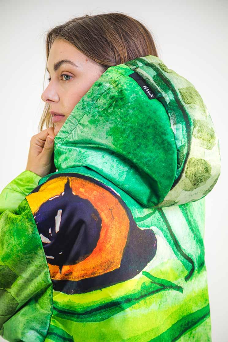 zummy piumino donna verde cappuccio retro